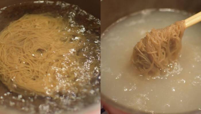 ふるる水冷麺茹でる